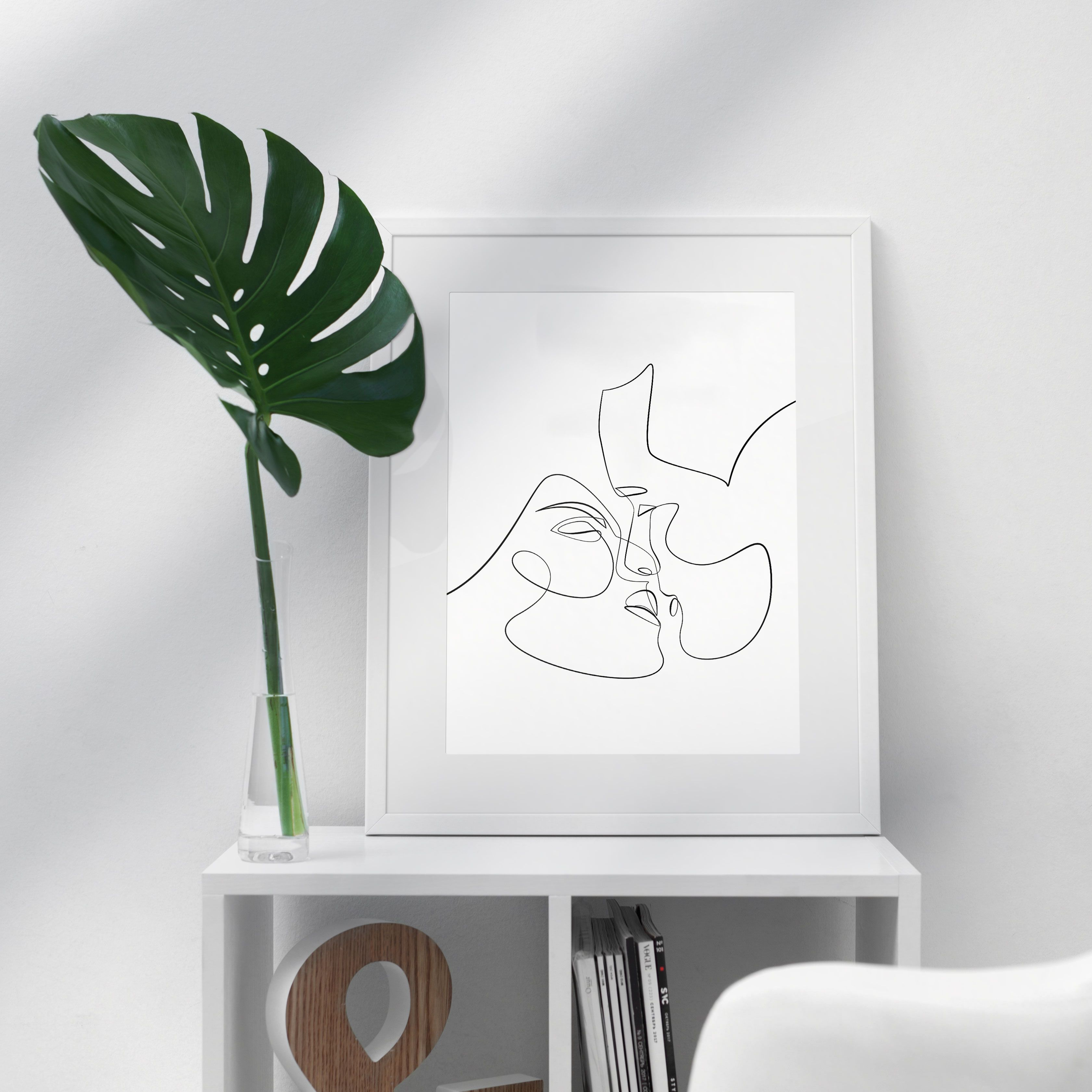 Couple kiss illustration one line drawing printable art