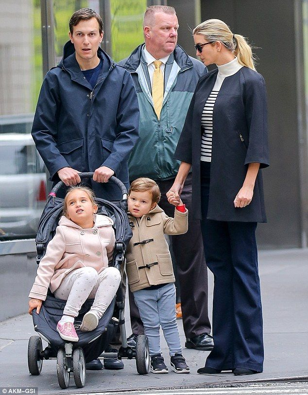 Family outing: Ivanka Trump enjoyed a Mother's Day stroll with her husband  Jared and their