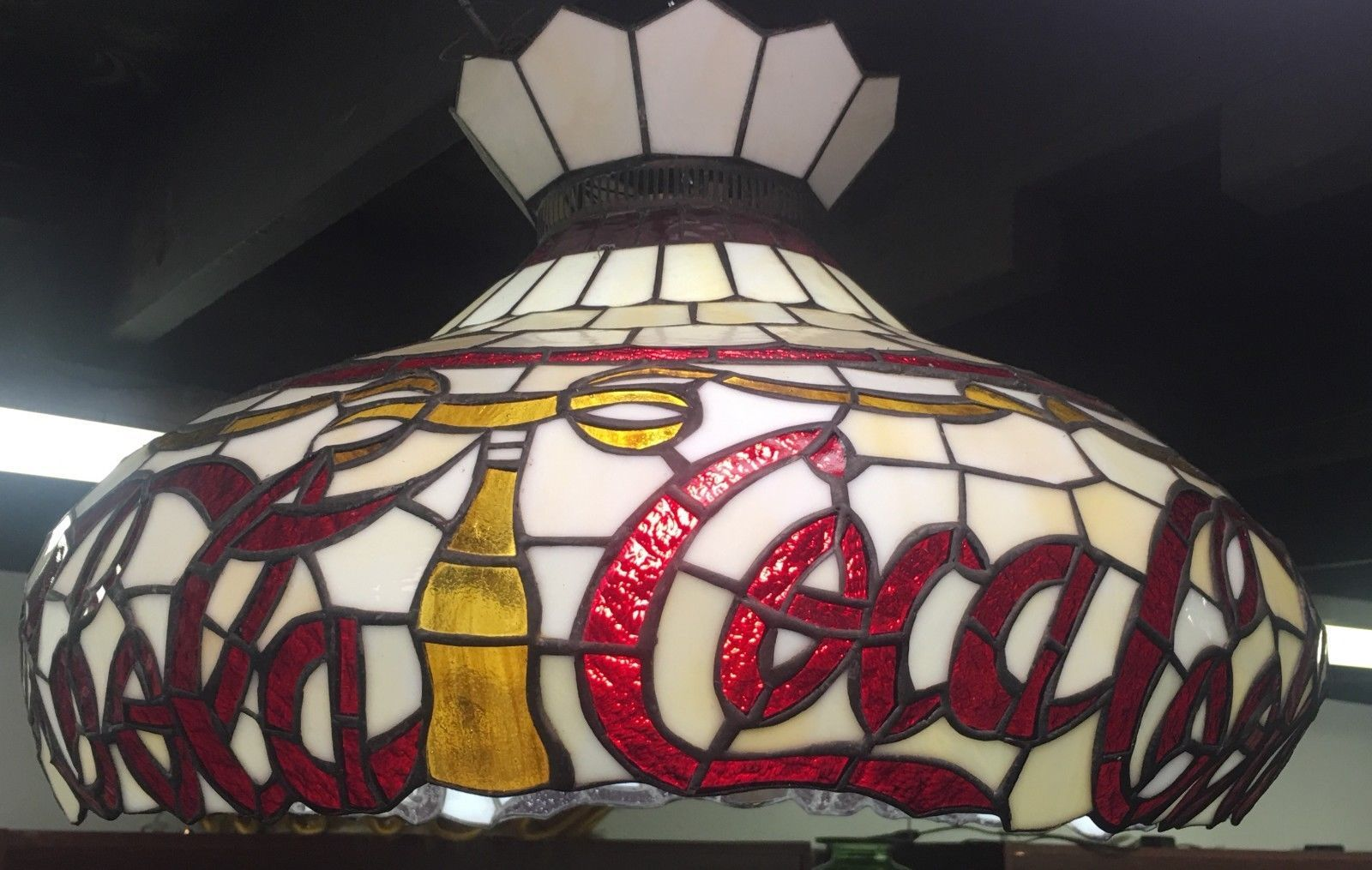 Coca Cola Stained Glass Lamp.Vintage Cocacola Stained Glass Hand Crafted Hanging Light