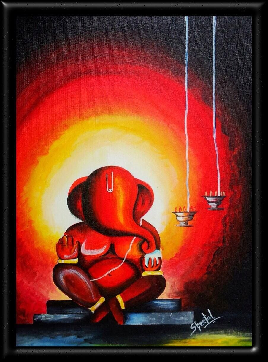 Lord ganesha multi color painting hd image - Ganesha Acrylic On Canvas Easy And Artistic Ganesha Even Kids Also Make It Use It For Competition Or Rangoli