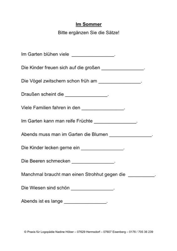 Satzergänzung: im Herbst - Aphasie | Arbeitsblätter, Sprechen und ...