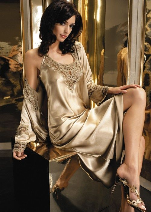 907c707eee64 Brown Satin Nightgown and Brown Satin Robe