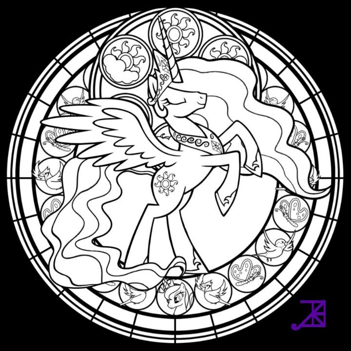 My Little Pony Princess Celestia Free Coloring Page Stained Glass Window Design
