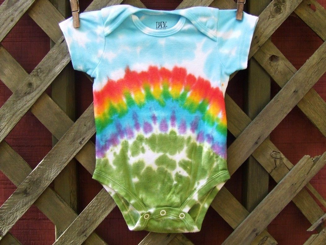 One-Pieces Orange/Yellow Swirl Baby Romper/Onesie Short Sleeve 100% Cotton Tie Dye Dyed