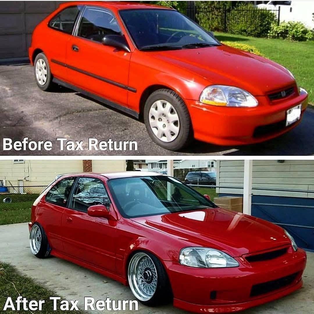 Befor And After Red Ek Hatchback Honda Civic Vtec Honda Civic Coupe Jdm Honda