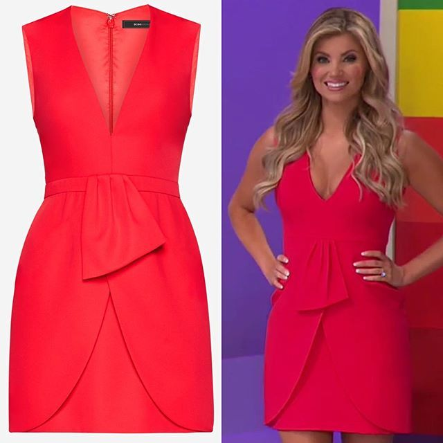 00e01d5de89 Worn by  amberlancaster007 on  therealpriceisright on her 37th birthday ~  BCBGMAXAZRIA Clare Sleeveless Draped-Skirt Dress in Red Berry Air date   9 19 17 ...