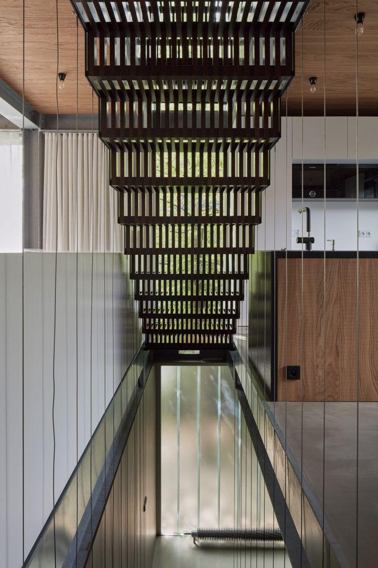 minimalistische einrichtung beton holz stahl glas flur modern ...
