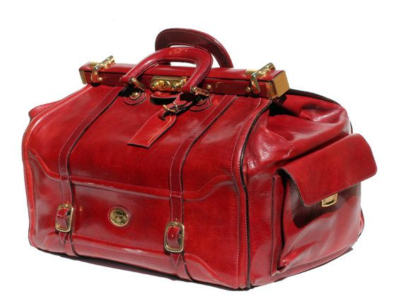 Italian leather candy apple red weekend travel bag | Best Vintage ...