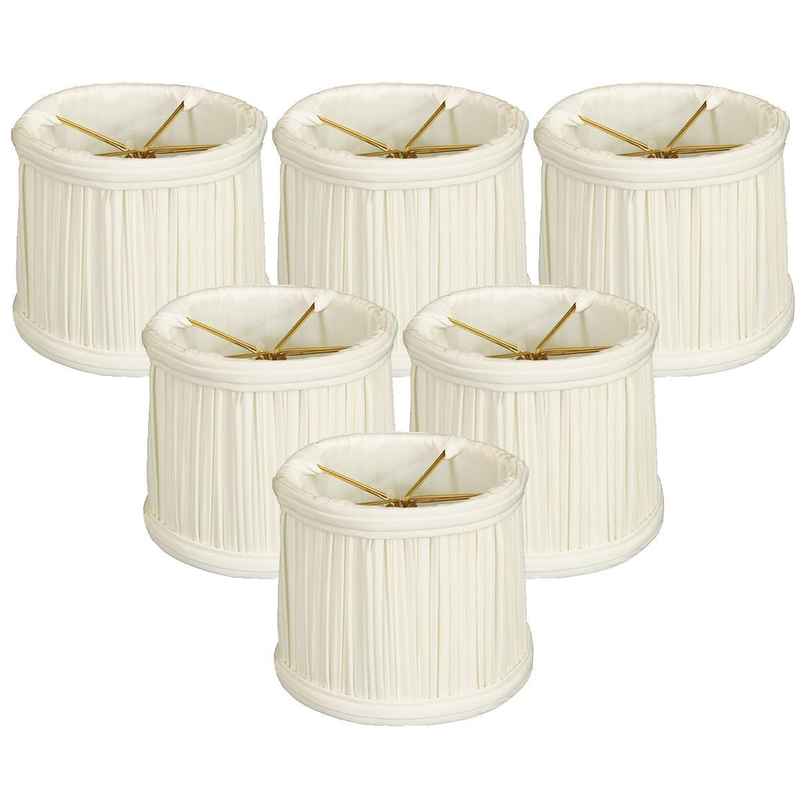 Royal Designs 6 Gather Pleat Chandelier Shades Set of 6 White ...