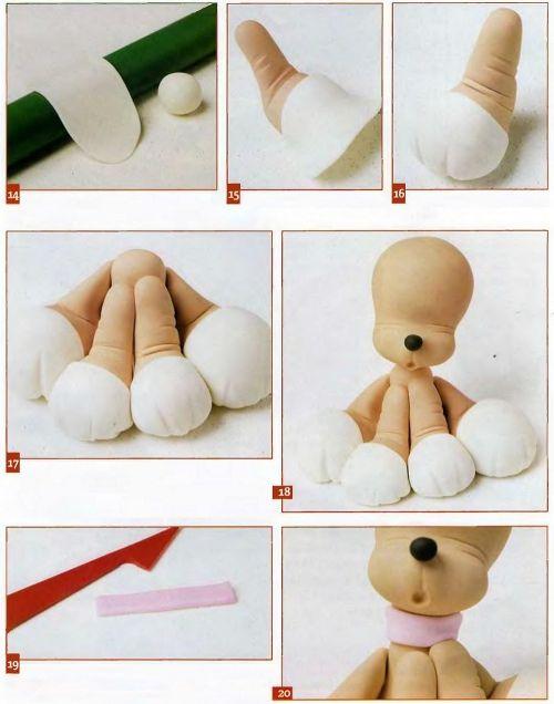 cão - 3. Tal como para as pernas dianteiras para fazer as pastilhas de argila branca e cola ao corpo (Fig. 14-17). continuar a colocar a cabeça do cão e de argila rosa fazem alça de pescoço. Envolvê-la em torno de seu pescoço (Fig. 19-20).