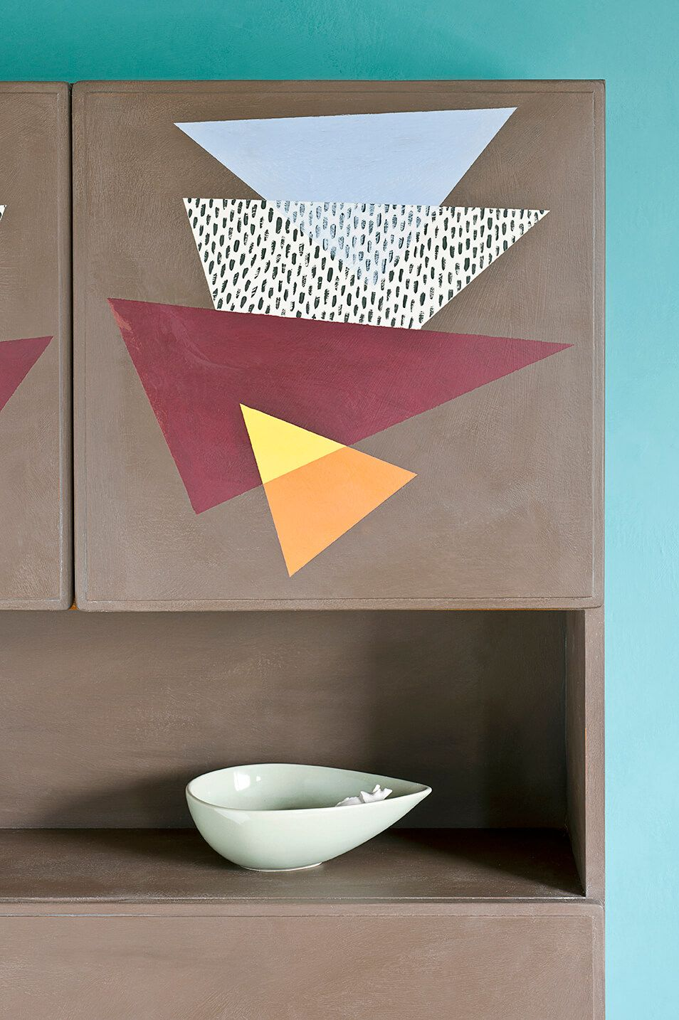 Contemporary Cupboards honfleur chalk paint® on cupboard with contemporary graphic design