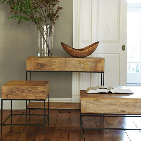 Rustic Storage Console, Coffee Table and Side Table ~ West Elm - Rustic Storage Side Table West Elm Something Basic For Between