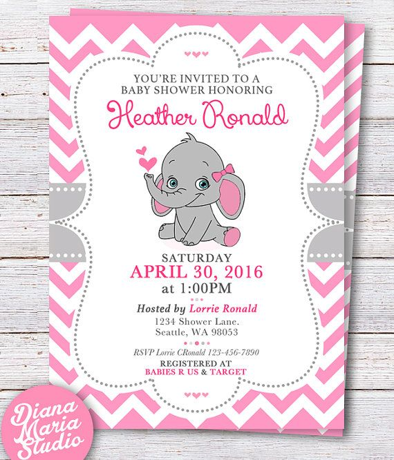 ddbe6cb93404c Elephant Baby Shower Invitation - Pink Elephant Girl baby shower ...