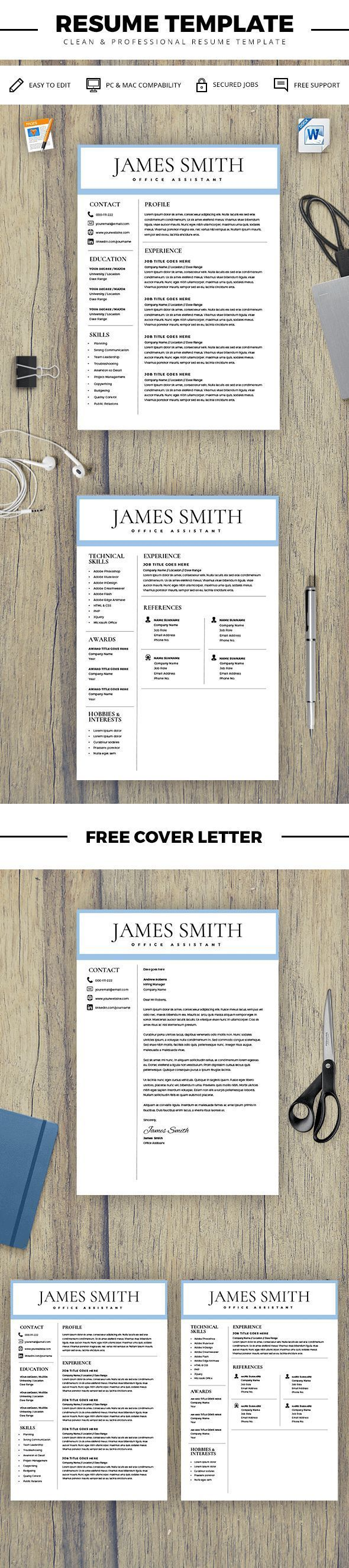 Resume Template For Men  Writer Resume Template For Word  Pages