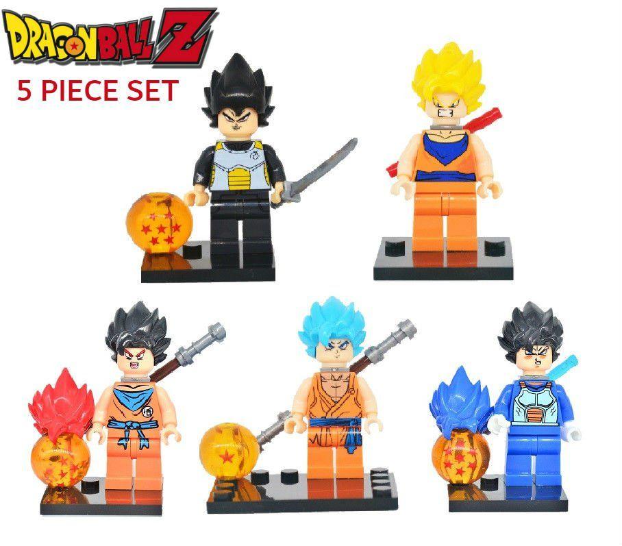 Dragon ball z 5pc mini figure set son goku vegeta lego