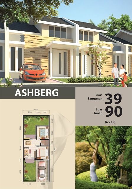 Denah rumah minimalis type 39/90 modern