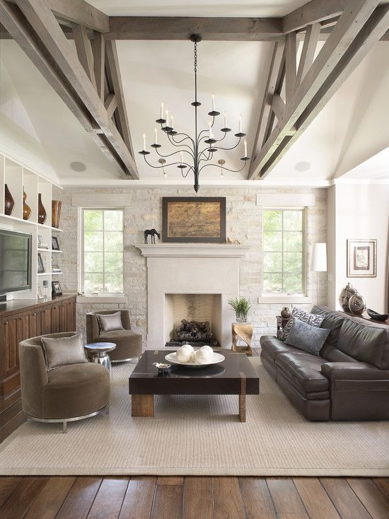 Exposed Beams Design Pictures Remodel Decor And Ideas Page 46 Rustic Living Room Design Family Room Design Traditional Family Rooms