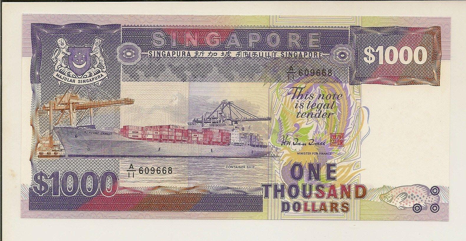Singapore Banknotes 1000 Dollars Banknote Ship Series Container Ship Neptune Garnet Dollar Banknote Bank Notes Dollar