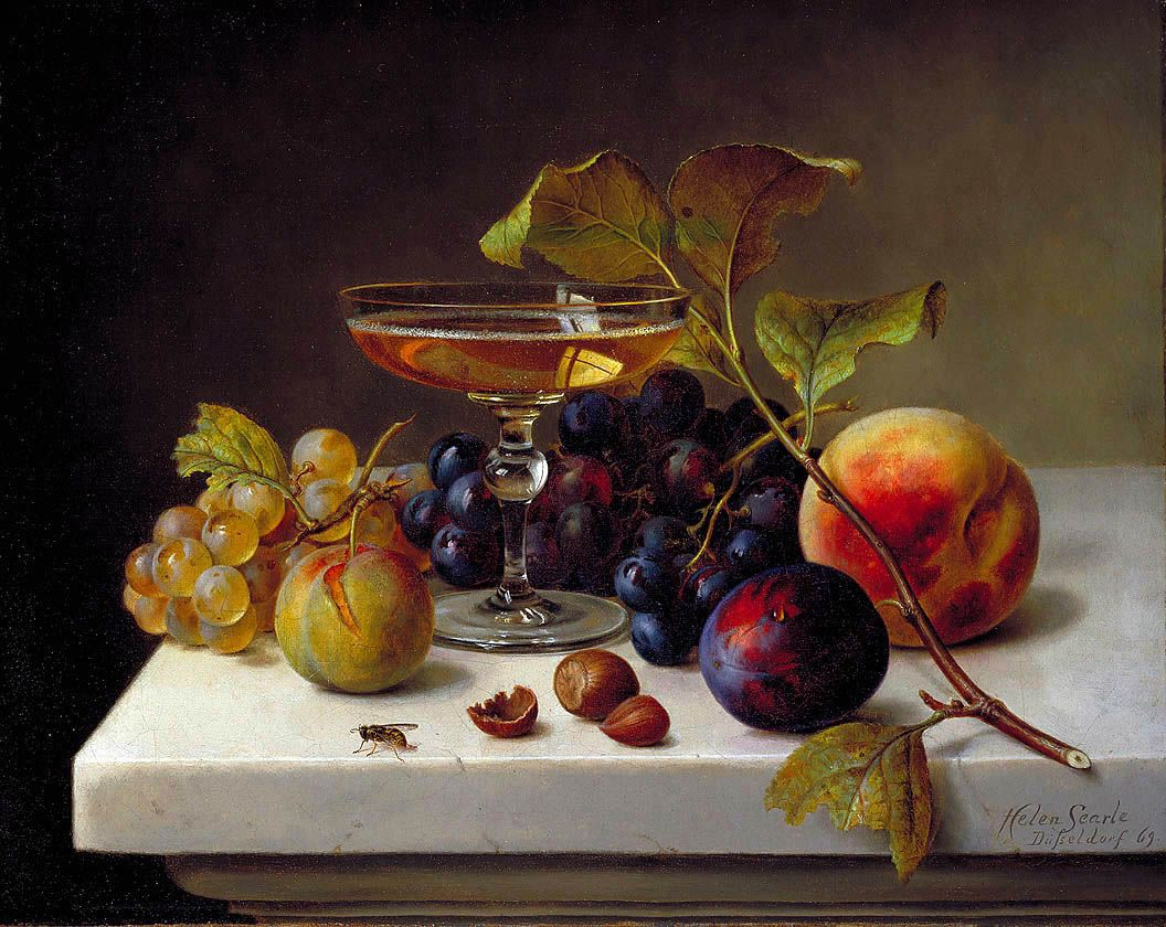Helen Searle Still Life with Fruit and Champagne 1869