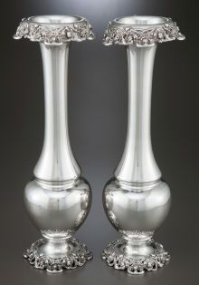 A Pair Of Gorham Art Nouveau Silver Vases. Gorham Manufacturing Co., Providence, Rhode Island, circa 1873.