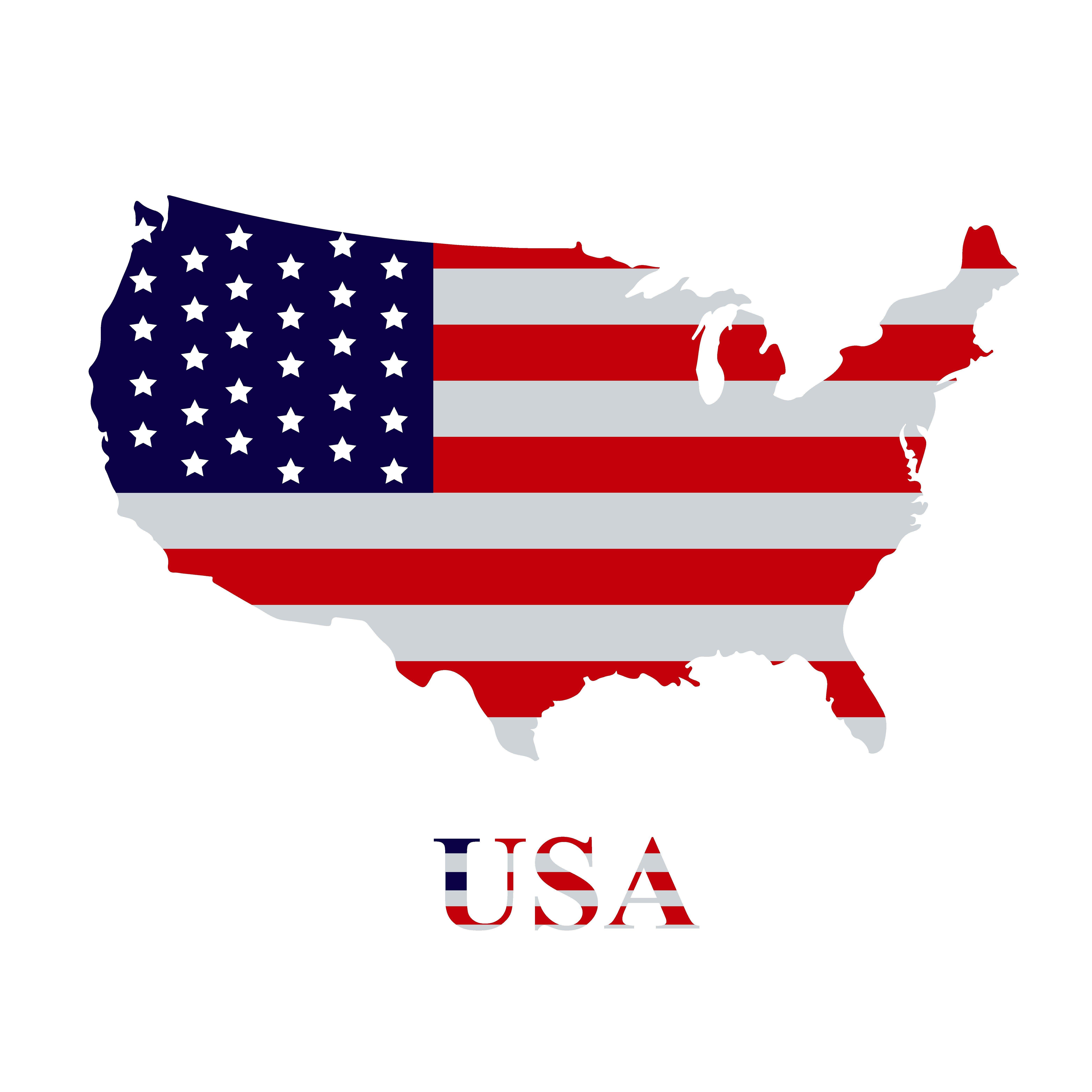 American Flag On The Usa Map Usa Map Map Logo Flag
