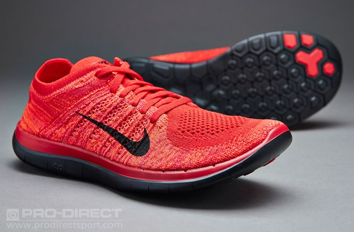 Men's Nike Free 4.0 Flyknit University Red Black Sneakers : G54w3520