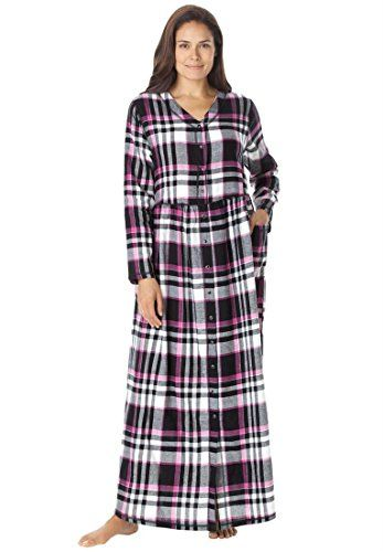 fashion bug plus size woman within v-neck flannel lounger by only
