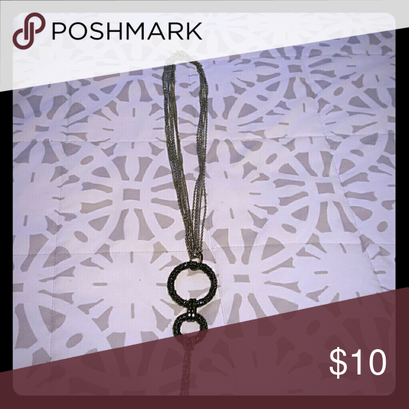 Drop necklace Silver tone chains and drop black titanium hoops Jewelry Necklaces