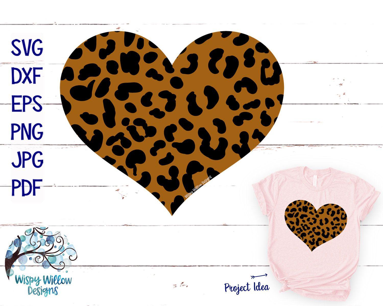 Leopard Heart SVG, Leopard Print SVG, DXF, png, jpg
