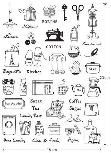 Zakka Iron On Transfer Sewing And Household Items Planner O