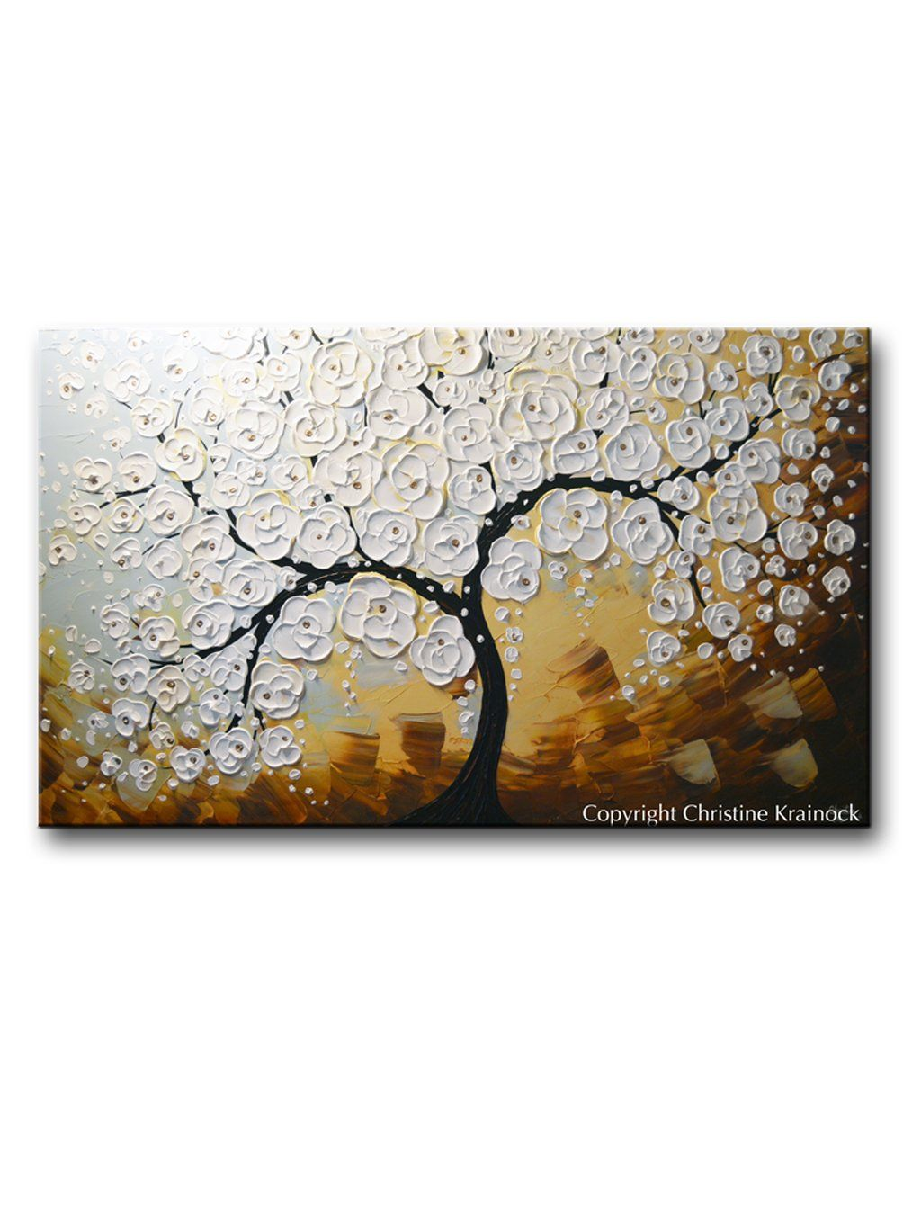 Original Art Abstract Painting Blossoming Cherry Tree Textured White Flowers Wall Art Blue Brown Xl 36x60 Flower Wall Art Tree Textures Abstract Art Painting