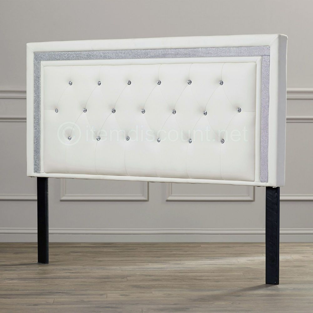 White Leather Button Tufted Rhinestone Crystal Bed Headboard Queen