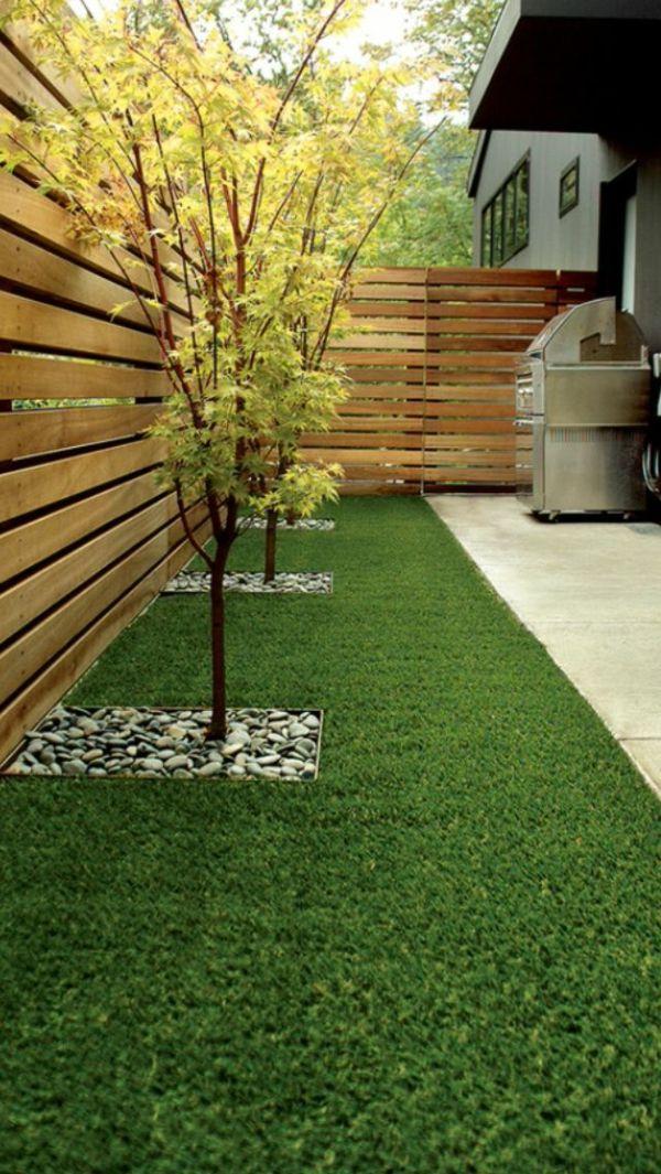 Gartendesign mit Kunstrasen und Holzzaun Messe Rendering - kleinen garten gestalten sichtschutz