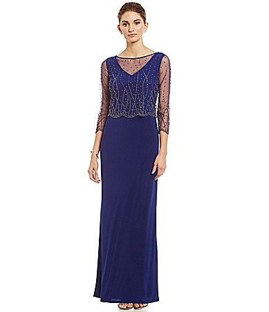 Patra Beaded Popover Gown #Dillards | Party Dress | Pinterest