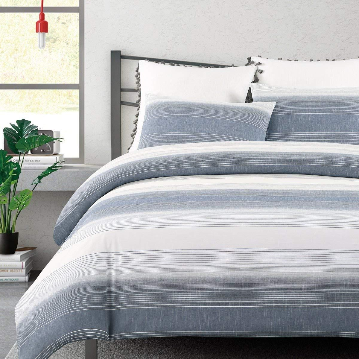 Echelon Home Norwood Stripe Duvet Cover Set King Navy Duvet