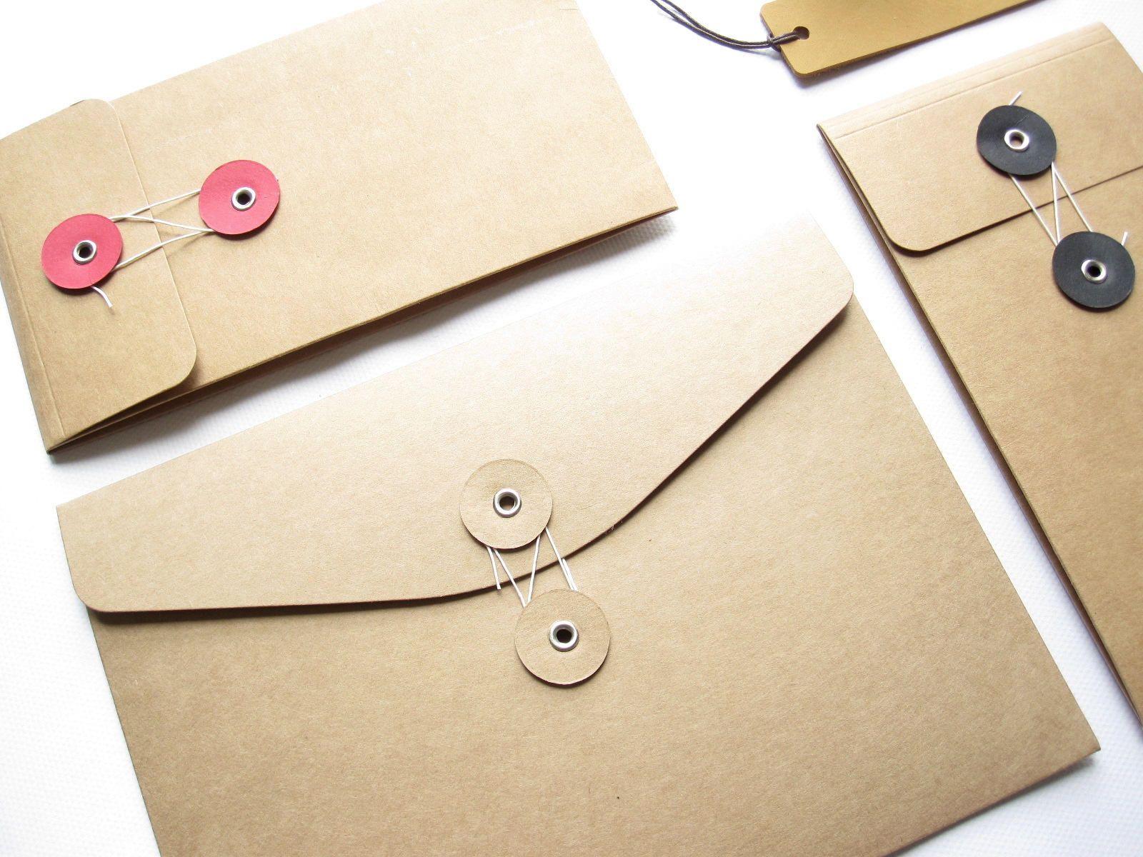 String & Button Kraft Envelopes 。Brown Kraft Envelope