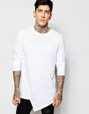ASOS Longline Long Sleeve T-Shirt With Asymmetric Hem And Contrast Yoke