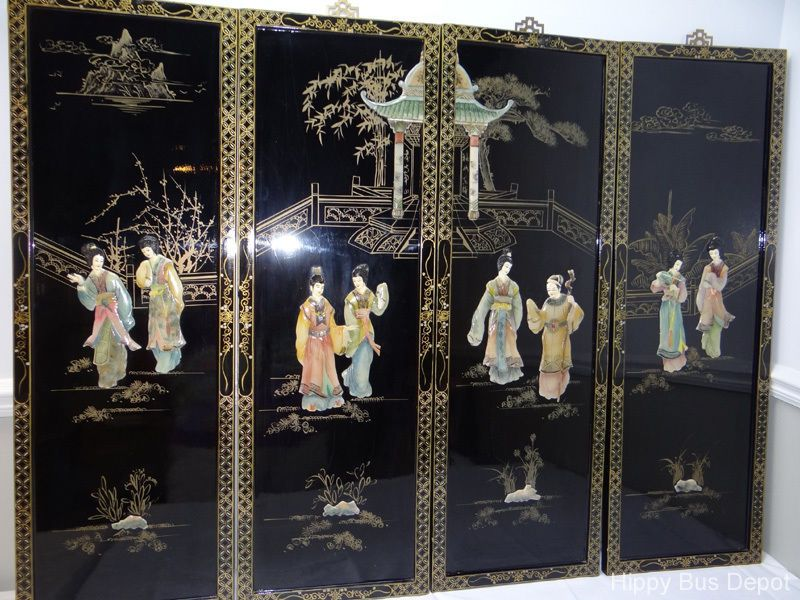 4 Vintage Black Lacquered Chinese Oriental Asian Ladies