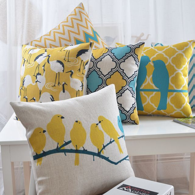 Bright Yellow Bird Pillow Decorative Sofa Car Chair Cushions Flowers Throw Pillows Chevron Decorative Pillow Cases Cushion Cover Designs Yellow Pillows