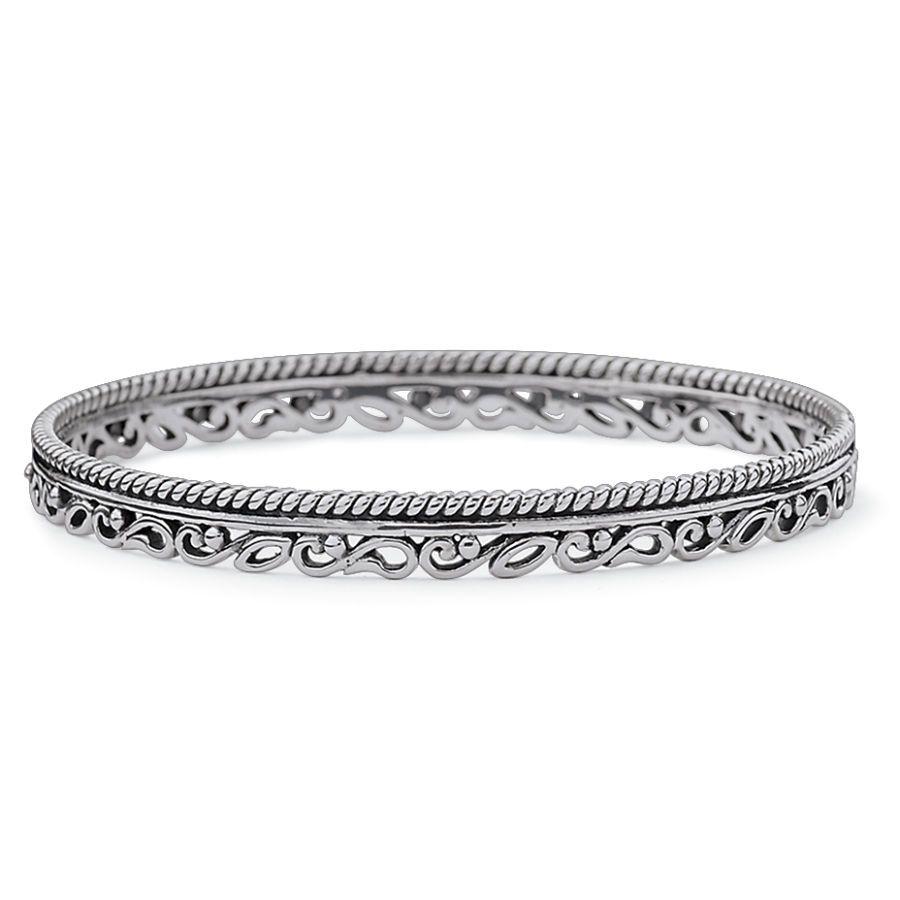 Antiqued Silverplate Regalia Bangle Bracelet - Fashion Jewelry, Sterling, Gemstones, Pearls, Earrings, Necklaces, Rings & Bracelets