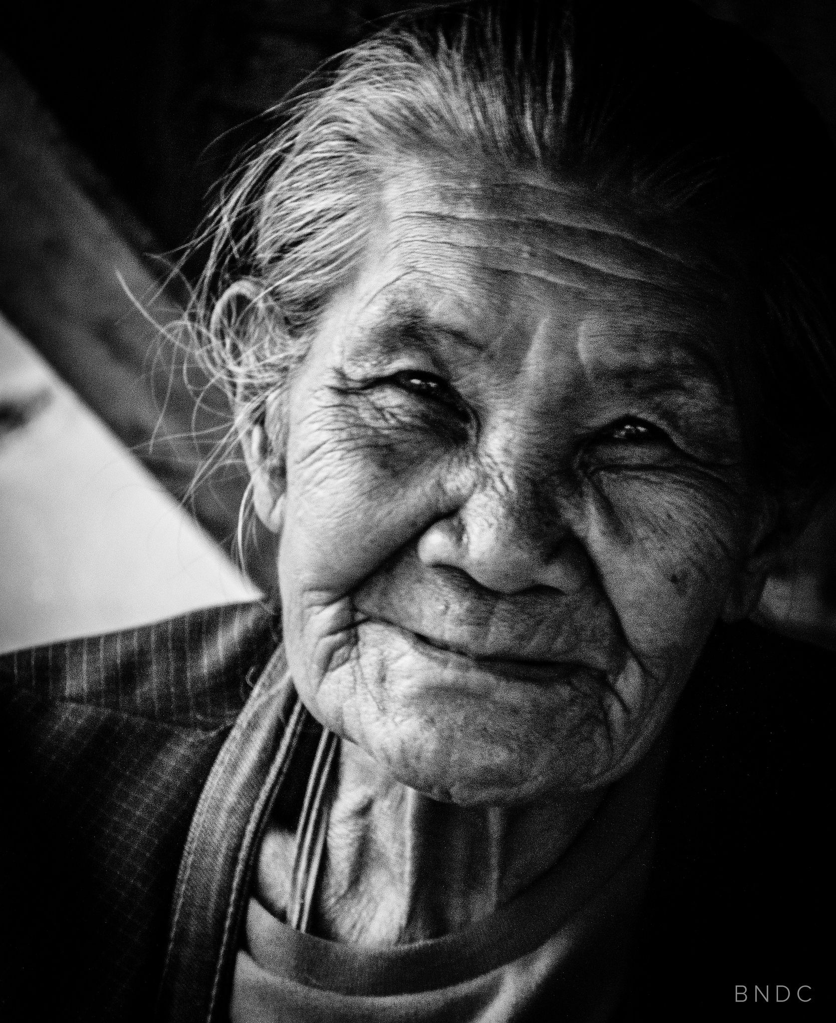 Old woman portrait black and white monochrome happy smile manila street happiness will never come to those who dont appreciate what they already