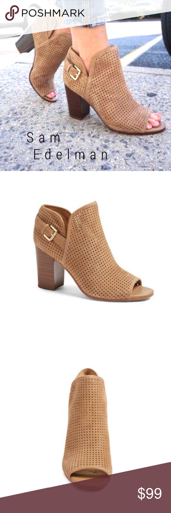 e3f243bb6dba0c NEW Sam Edelman Easton perforated open toe bootie Sam Edelman shoes are my  FAV! Always sooo stylish and comfy! These booties are the BEST camel color  in a ...