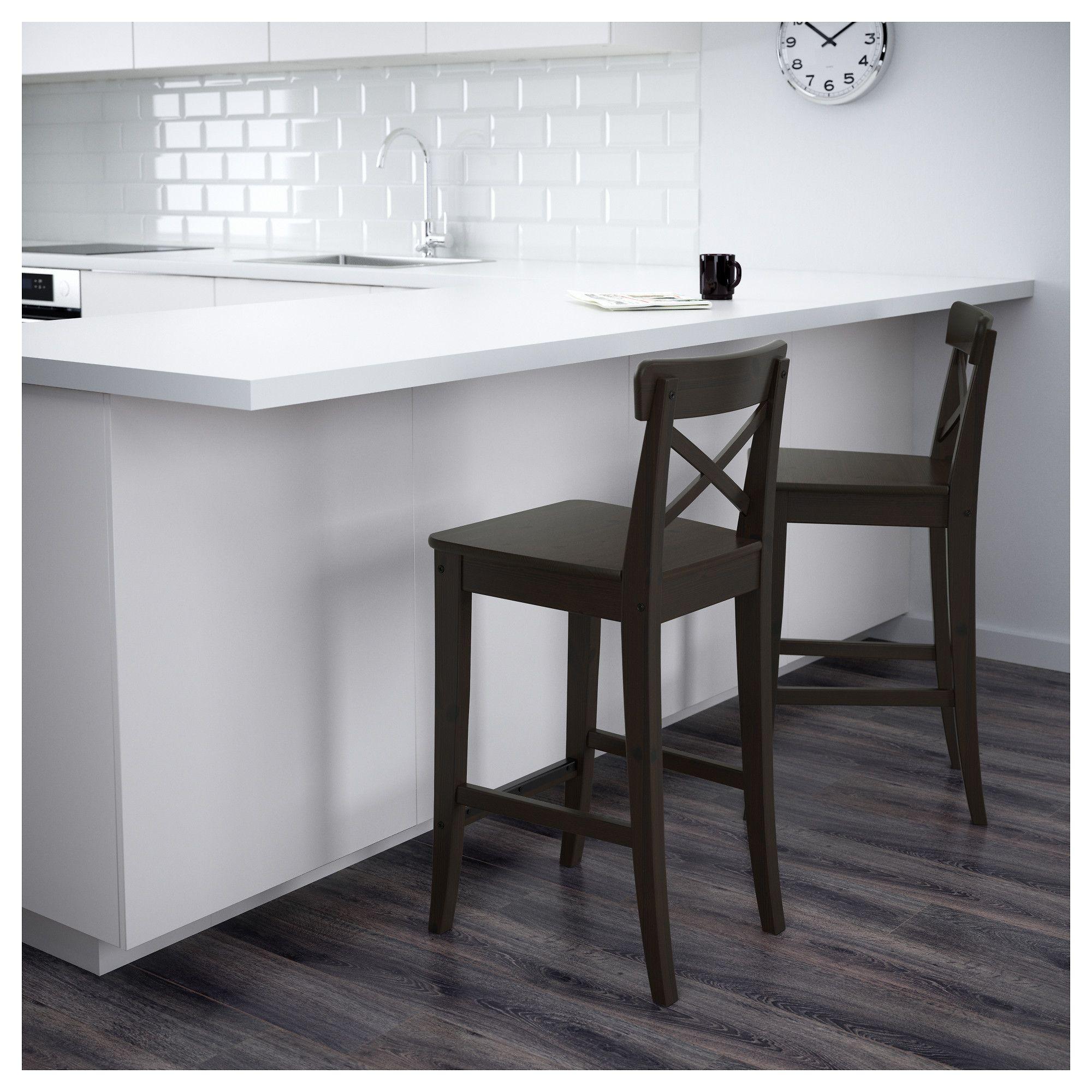 Ingolf Bar Stool With Backrest Brown Black 63 Cm Bar Stools Home Decor Kitchen Ikea Barstools