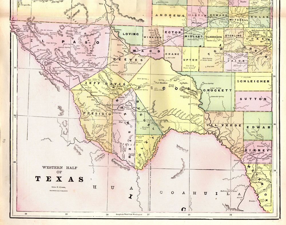 1892 Antique WEST TEXAS Map Vintage Original Map of Texas State Map ...