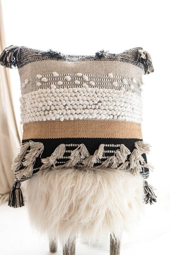 Bohemian Pillow Cover ,Woven Pillow Cover ,Textured Throw Pillow Black, White and Tan Ochre Moroccan