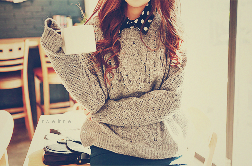 sweater and polka dots.