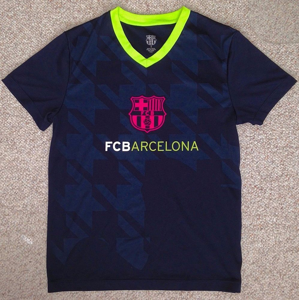 separation shoes 0c998 1d2f1 Sm FC BARCELONA T-SHIRT Navy-Blue&NEON YELLOW&PINK Dry-Fit ...