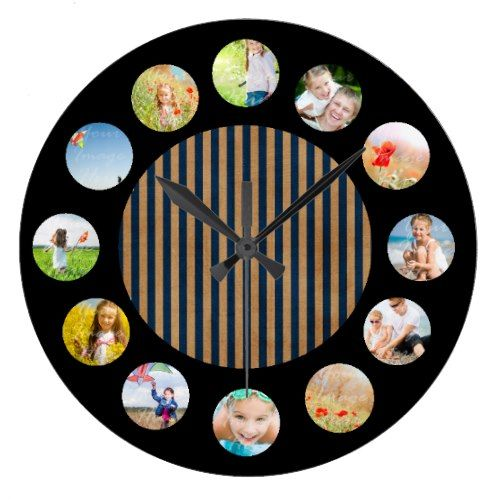 Tan Navy Nautical Stripe Photo Collage Large Clock find more personalized clocks at www.mouseandmarker.com