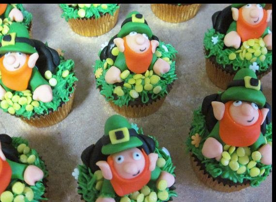 St Patrick's Day fondant cupcake toppers by SueLousSweets on Etsy, $35.00