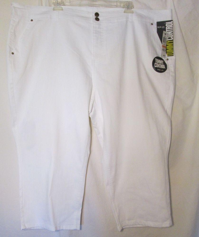 Style&co. New Jeans Capri Tummy Control Bright White 24W